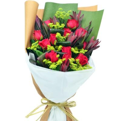 12pcs RED Roses Valentine Bouquet