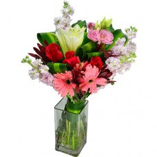 Gerberas, Roses, Lily in Square Vase