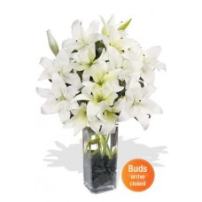 7 Oriental White Lily Bouquet