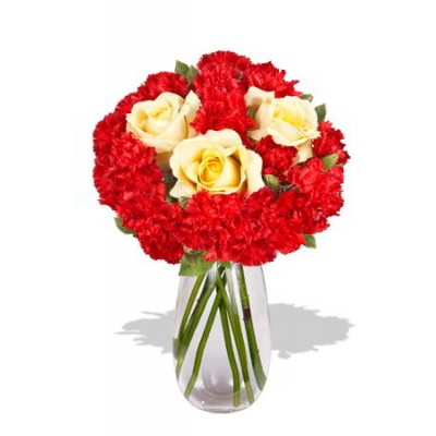 Carnation and Roses Vase Bouquet